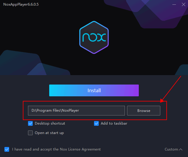 starting of noxplayer